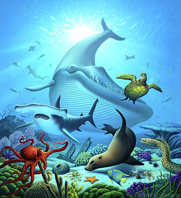 Sharks Digital Art - Ocean Life by Jerry LoFaro