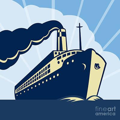 Water Vessels Digital Art - Ocean Liner Boat by Aloysius Patrimonio
