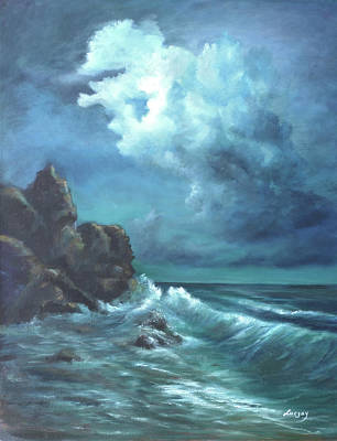 Painting - Seascape And Moonlight An Ocean Scene by Luczay