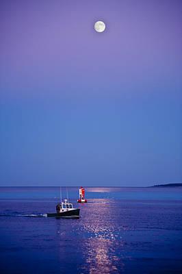 Full Moon Photograph - Ocean Moonrise by Steve Gadomski