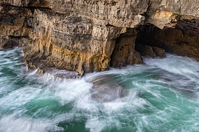 Photograph - Ocean Muscling Into A Cave by Georgia Mizuleva