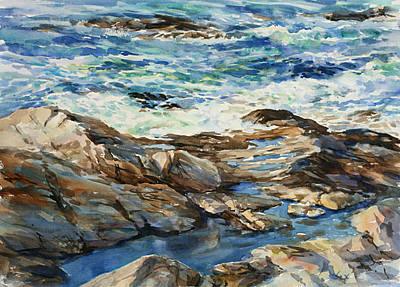 Rocks. Tidal Pool Painting - Ocean Patterns by Christine Lashley