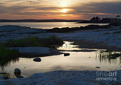Photograph - Ocean Point Sunset, East Boothbay, Maine  -23091-23093 by John Bald