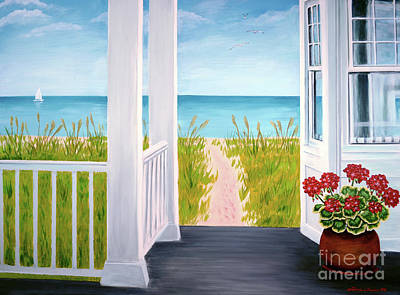 Ethereal - Ocean Porch View And Geraniums by Patricia L Davidson