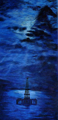 Oil Rig Painting - Ocean Rig by Karen  Peterson