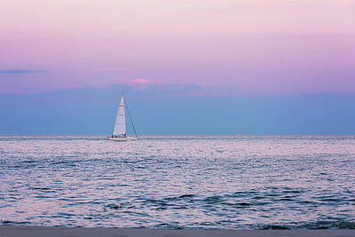 Photograph - Ocean Sailing At Sunset Lavallette New Jersey  by Terry DeLuco