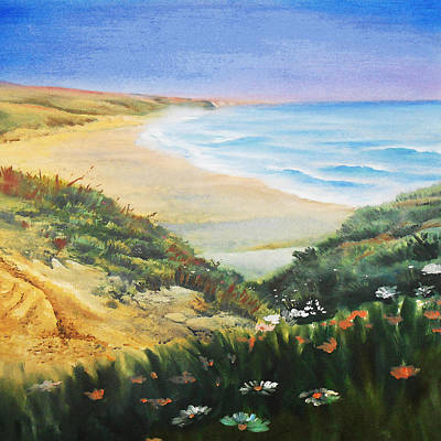 Painting - Ocean Shore And Sand Dunes  by Irina Sztukowski