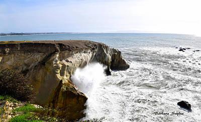 Impressionist Landscapes - Ocean Spray Near Dinosaur Caves Pismo Beach by Barbara Snyder