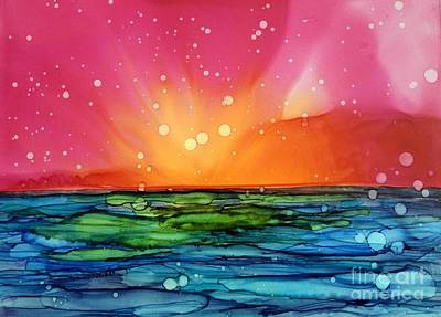 Alcohol Ink Wall Art - Painting - Ocean Sunrise by Beth Kluth