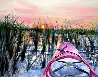 Painting - Ocean Sunrise Kayak by Carlin Blahnik
