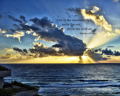Photograph - Ocean Sunrise With Emerson Quote - Photography by Ann Powell