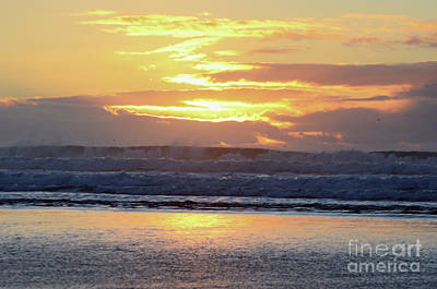 Photograph - Ocean Sunset And California King Waves by Debby Pueschel
