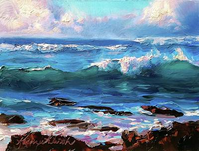 Painting - Ocean Sunset At Turtle Bay, Oahu Hawaii by Karen Whitworth
