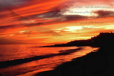 Photograph - Ocean Sunset Bible Verse by Joann Vitali