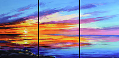 Paintings - Ocean sunset by Graham Gercken