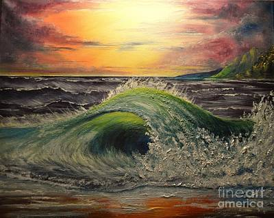 Painting - Ocean Sunset by Greg Moores