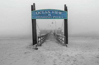 Photograph - Ocean View Pier Partial Color by Jerry Gammon