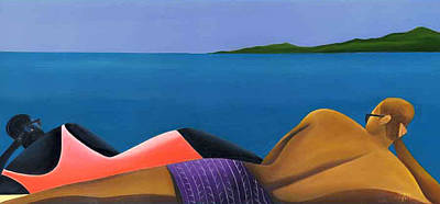 Black Couple On Beach Art Painting - Ocean View by Yvette Watson