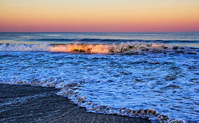Photograph - Ocean Wave Kissed By The Setting Sun by Carolyn Derstine