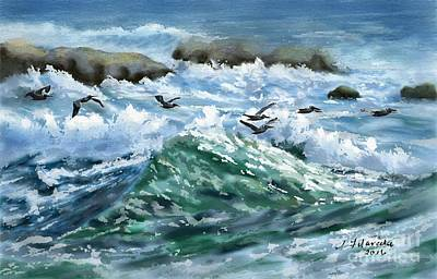 Painting - Ocean Waves And Pelicans by Judy Filarecki
