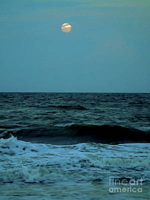 Photograph - Ocean Waves And Pink Full Moon by D Hackett