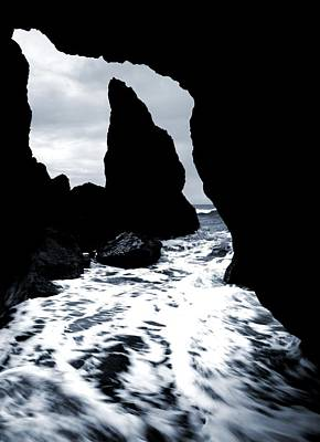 Photograph - Ocean Waves And Sea Stack From The Cave by Dan Sproul