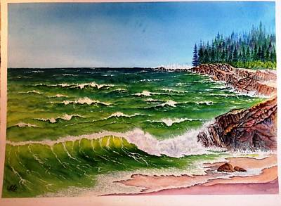 Painting - Ocean Waves Rocks Ver 2 by Richard Benson