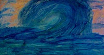 Abstract Expressionism Painting - Ocean Waves by Stephanie Zelaya