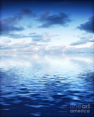 Ripple Photograph - Ocean With Calm Waves Background With Dramatic Sky by Michal Bednarek