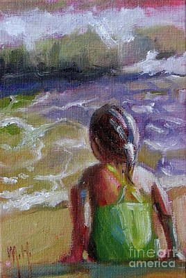 Painting - Ocean's Edge Beach Girl Coastal Water by Mary Hubley