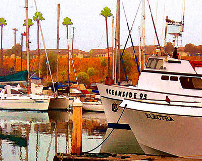 Art Print featuring the digital art Oceanside Harbor by Timothy Bulone