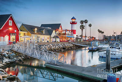 Oceanside Harbor Village At Dusk Art Print