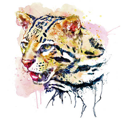 Ocelot Head Art Print by Marian Voicu