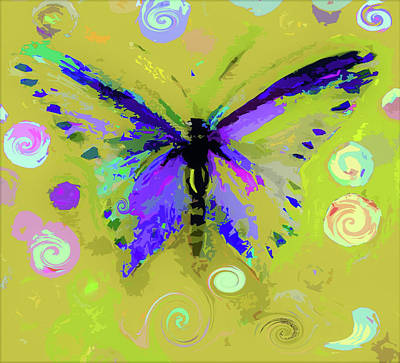 Digital Art - Ochre  Butterfly And Twirls by Lisa Kaiser