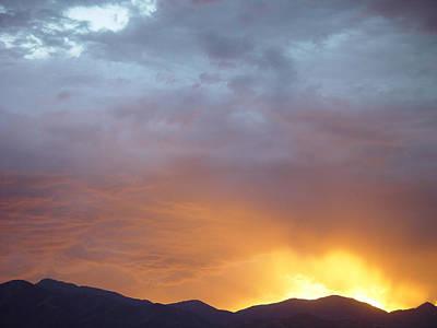 Ochre Mountains Stormy Sunset  Art Print by Derek Nielsen