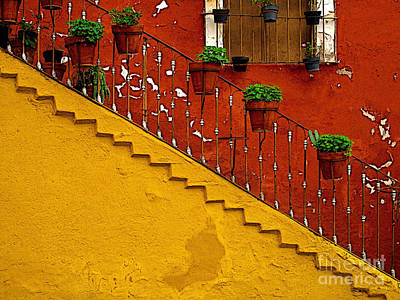 Ochre Staircase With Red Wall 2 Art Print by Mexicolors Art Photography
