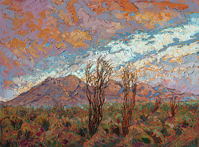 Early California Landscape Painting - Ocotillo Clouds by Erin Hanson