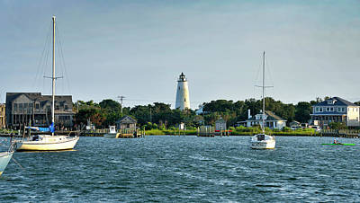 Ocracoke Lighthouse Photograph - Ocracoke Island Lighthouse From Silver Lake by Brendan Reals