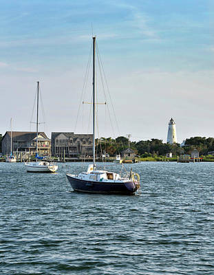 Ocracoke Lighthouse Photograph - Ocracoke Island - Silver Lake And Lighthouse by Brendan Reals