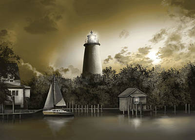 Ocracoke Lighthouse Painting - Ocracoke Lighhouse Sepia by Bekim Art