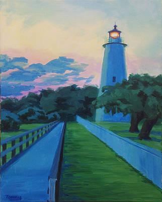 Painting - Ocracoke Lighthouse Dusk by Tommy Midyette