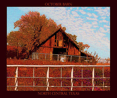 Mixed Media - October Barn Poster by Robert J Sadler
