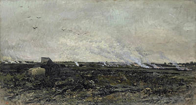 Wagon Painting - October by Charles-Francois Daubigny