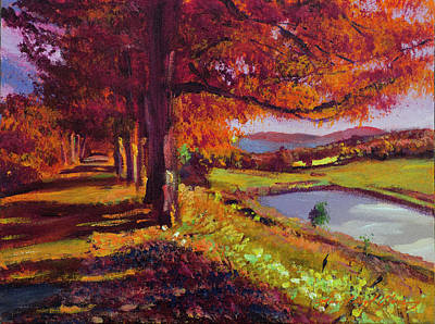 Painting - October Country Road - Plein Air by David Lloyd Glover