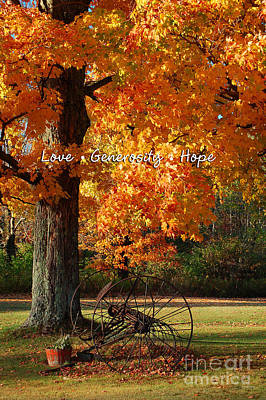 Art Print featuring the photograph October Day Love Generosity Hope by Diane E Berry
