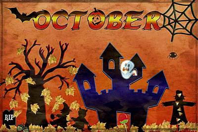 October - Grunge Art Print