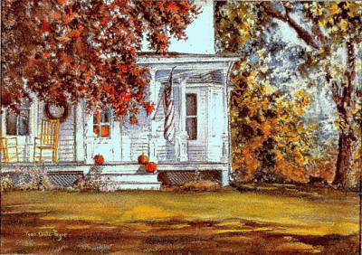 Painting - October House  by June Conte  Pryor