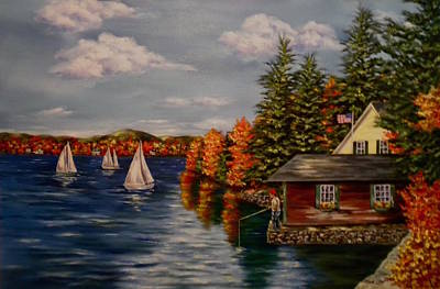 Water Sports Poster Painting - October In New England by Jan Law