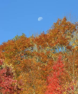 Photograph - October Moon Over The Blue Ridge by rd Erickson