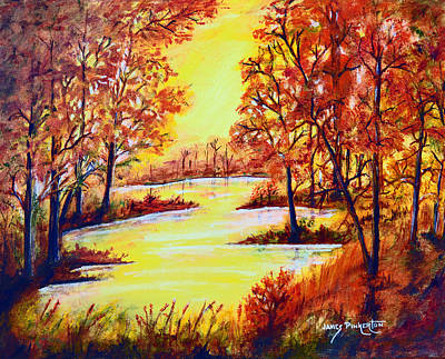 Sunrise Over Water Painting - October Morn by James Pinkerton